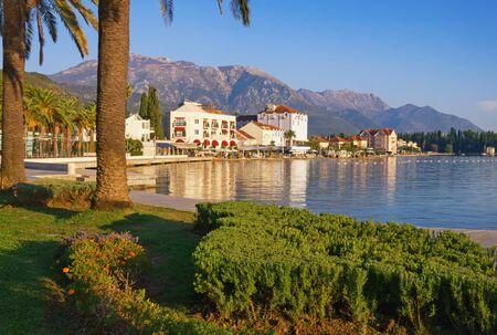 Embankment of Tivat town on sunny autumn day. Montenegro, Adriatic Sea, Bay of Kotor