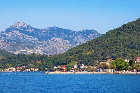 Beautiful summer Mediterranean landscape. Montenegro. View of Bay of Kotor and  Seljanovo village near Tivat city