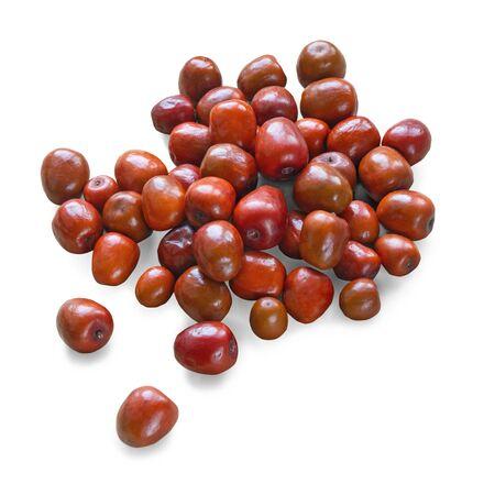 Jujube fruits  ( Ziziphus jujuba ) isolated on white background Stockfoto