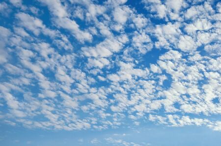 Beautiful fluffy white clouds in blue sky . Altocumulus cloud formation
