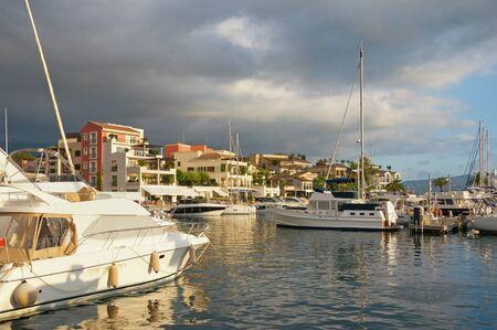 View of yacht marina of Porto Montenegro on autumn day.  Montenegro, Adriatic Sea, Bay of Kotor, Tivat city Stockfoto