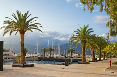 View of embankment of Tivat city and yacht marina of Porto Montenegro on autumn day.  Montenegro, Adriatic Sea, Bay of Kotor