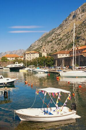 Beautiful  Mediterranean landscape on sunny autumn day. Montenegro, Adriatic Sea. View of Bay of Kotor and Old Town of Kotor