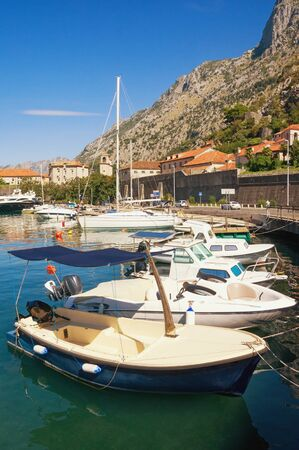Beautiful  Mediterranean landscape. Montenegro, Adriatic Sea. View of Boka Kotorska Bay and Old Town of Kotor on sunny autumn day Stockfoto