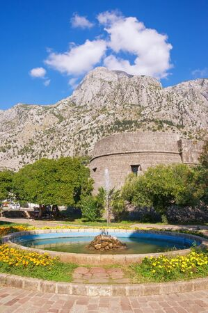 Montenegro.  View of Old Town of Kotor, -  Site.  Square before walls of ancient fortifications on sunny autumn day