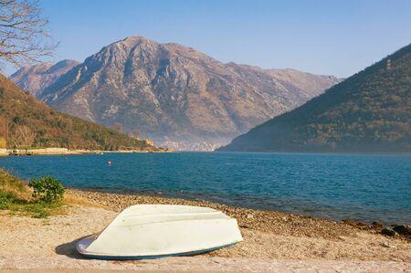 Beautiful Mediterranean landscape on sunny winter day.  Montenegro, Adriatic Sea. View of Bay of Kotor near Verige Strait