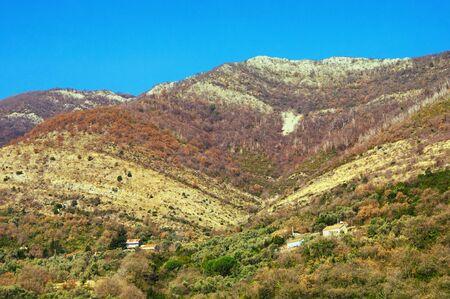 Scenic mountainside of Dinaric Alps in autumn colors. Montenegro, view of Mediterranean limestone mountain range Orjen near Kotor Bay Stockfoto