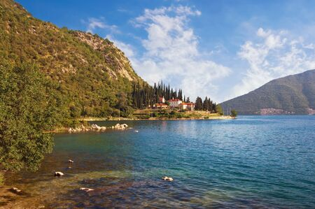 Beautiful summer Mediterranean landscape. Montenegro, Adriatic Sea, Bay of Kotor . View of Banja Monastery near Risan town Stockfoto