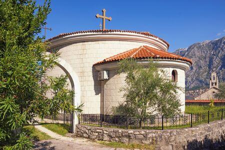 Religious architecture. Montenegro, Prcanj town. View of Orthodox church of St. Peter of Cetinje ( Svetog Petra Cetinjskog )