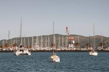 View of yacht marina of Porto Montenegro in Tivat city. Montenegro, Bay of Kotor of Adriatic Sea Stockfoto