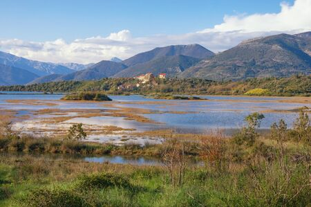 Wetland landscape. Montenegro, Tivat. View of Tivat Salina  ( Tivatska Solila ) - botanical and animal reserve