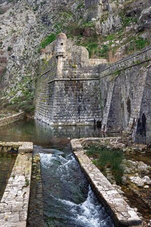 Ancient fortifications. Montenegro. Old Town of Kotor Northern walls of fortress with Riva bastion in winter