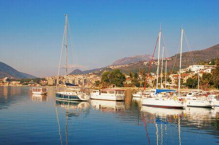 Sunny winter, beautiful Mediterranean landscape. Montenegro, Adriatic Sea, Bay of Kotor, view of Herceg Novi city