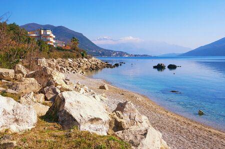 Beautiful winter Mediterranean landscape.  Montenegro, Adriatic Sea. View of Bay of Kotor near Herceg Novi city