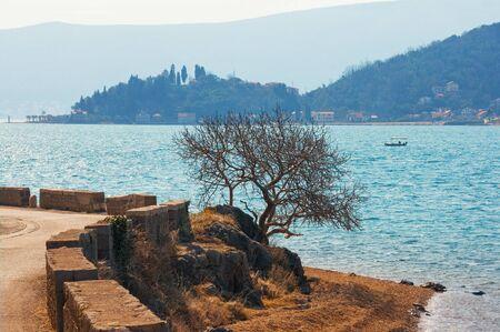 Winter Mediterranean landscape. Blue silhouettes. Montenegro, Adriatic Sea. View of coast of Kotor Bay near Verige Strait
