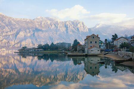 Beautiful winter Mediterranean landscape. Montenegro, Adriatic Sea. View of Bay of Kotor near seaside town of Prcanj