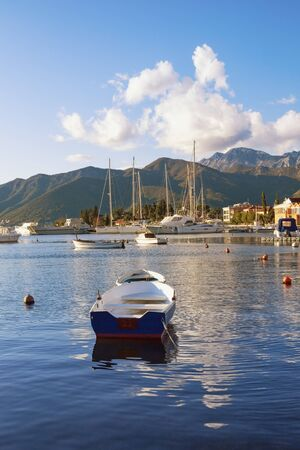 Beautiful Mediterranean landscape with boats on the water. Montenegro, Adriatic Sea, Bay of Kotor, Tivat