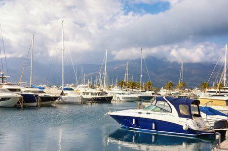 Marina.  Montenegro, Adriatic Sea, Bay of Kotor, Tivat city. View of yacht marina of Porto Montenegro in winter