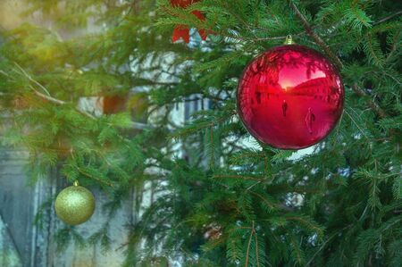 Bright Christmas ball on decorated Christmas tree. Montenegro, Kotor city. Montenegro, the city of Kotor. Buildings, town square and pedestrians are reflected in the ball