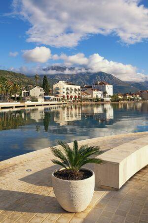 Montenegro. Embankment of Tivat city  on sunny winter day. Bay of Kotor 写真素材