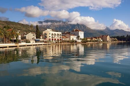 Embankment of Tivat city with Lovcen mountain in background.  Montenegro, Adriatic Sea, Bay of Kotor 写真素材