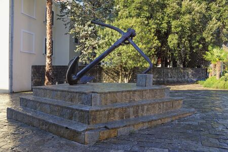 Montenegro,Tivat city, view of Square of Culture (Trg od Kulture).  Anchor  - symbol of old port Arsenal