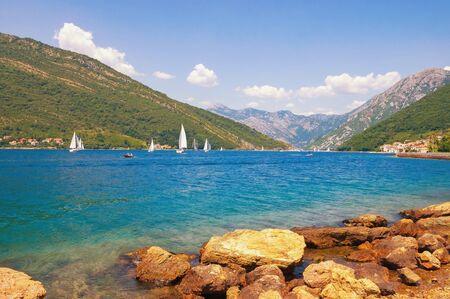 Beautiful Mediterranean landscape. Summer in Montenegro. View of Bay of Kotor near Verige Strait