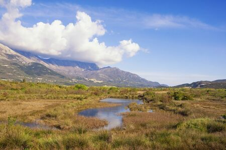 Beautiful wetland landscape. Montenegro, Tivat. View of Tivat Salina  ( Tivatska Solila )  on sunny spring day Stock Photo