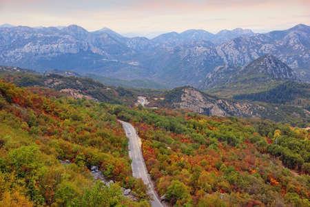 Beautiful autumn mountain landscape.  Balkans road trip. Montenegro, mountain road near Skadar Lake