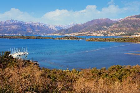 Beautiful winter Mediterranean landscape. Montenegro. View of Bay of Kotor from Lustica peninsula. Island of Sveti Marko  ( Stradioti ) and Island of Flowers ( Miholjska prevlaka )