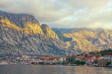 Evening Mediterranean landscape. Montenegro, Adriatic Sea. View of Bay of Kotor near Prcanj town