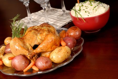 Roasted chicken and vegetables with mashed potatoes and rosemary Banco de Imagens
