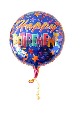 Festive helium balloon with Happy Retirement written on it Banco de Imagens