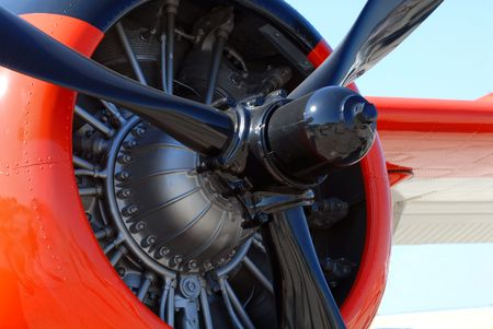 The propeller and engine of a world war II airplane