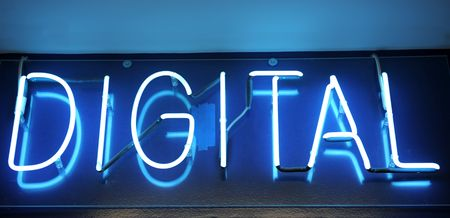 Blue neon sign with the word Digital Imagens