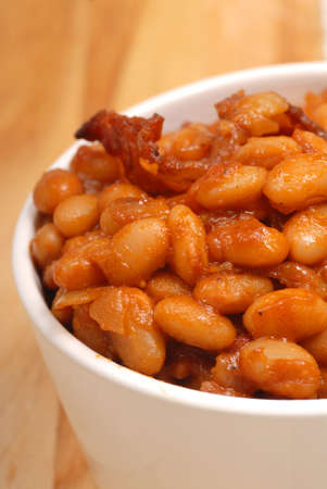 bacon baked beans: Homemade BBQ pork and beans with bacon