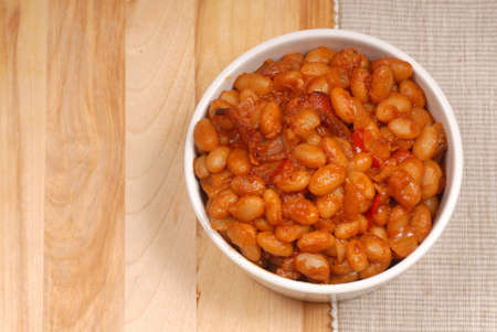 Homemade BBQ pork and beans with bacon