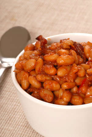 Homemade BBQ pork and beans with bacon photo