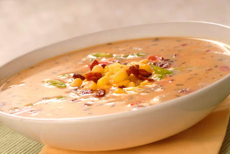chowder: Freshly made corn chowder with crispy bacon Stock Photo