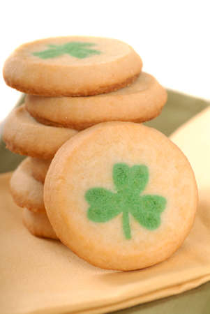 Freshly baked St. Patricks Day sugar cookies on a napkin photo