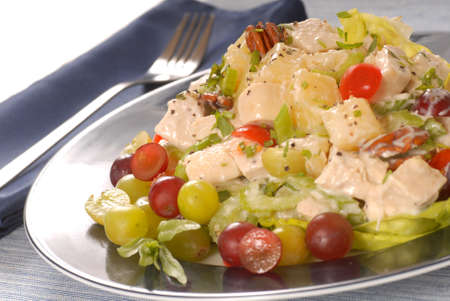 salad fork: Fresh chicken salad with pineapple and pecans