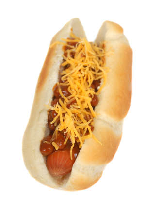 Freshly grilled chili hot dog with cheese photo