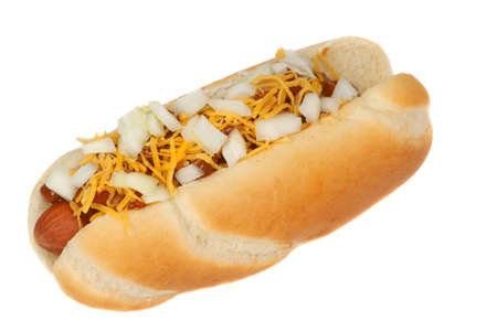 Freshly grilled chili cheese hot dog with onions photo