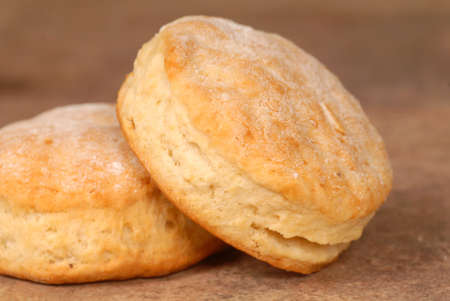 flaky: Two freshly baked light and flaky buttermilk biscuits