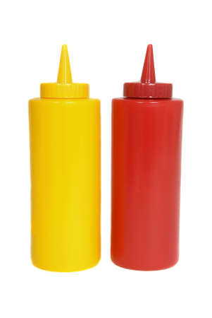Red and yellow ketchup and mustard squeeze bottles photo