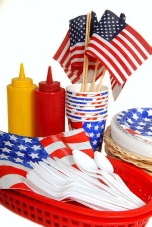 Patriotic table setting for a 4th of July picnic photo