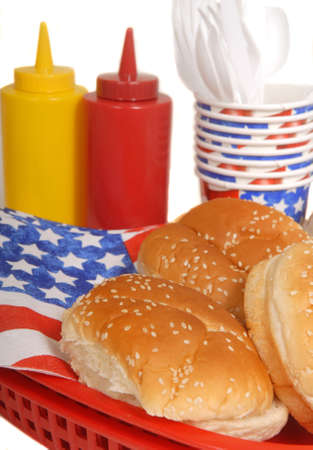 Table setting for a 4th of July picnic celebration photo