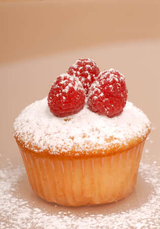 Freshly baked vanilla cupcake with raspberries and powdered sugar photo
