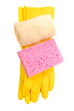 washcloth: Household latex gloves with sponge and washcloth