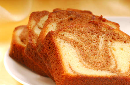 Slices of freshly baked cinnamon swirl pound cake Stock fotó - 5550682
